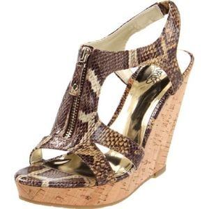 Carlos Santana Animal print cork wedge heels